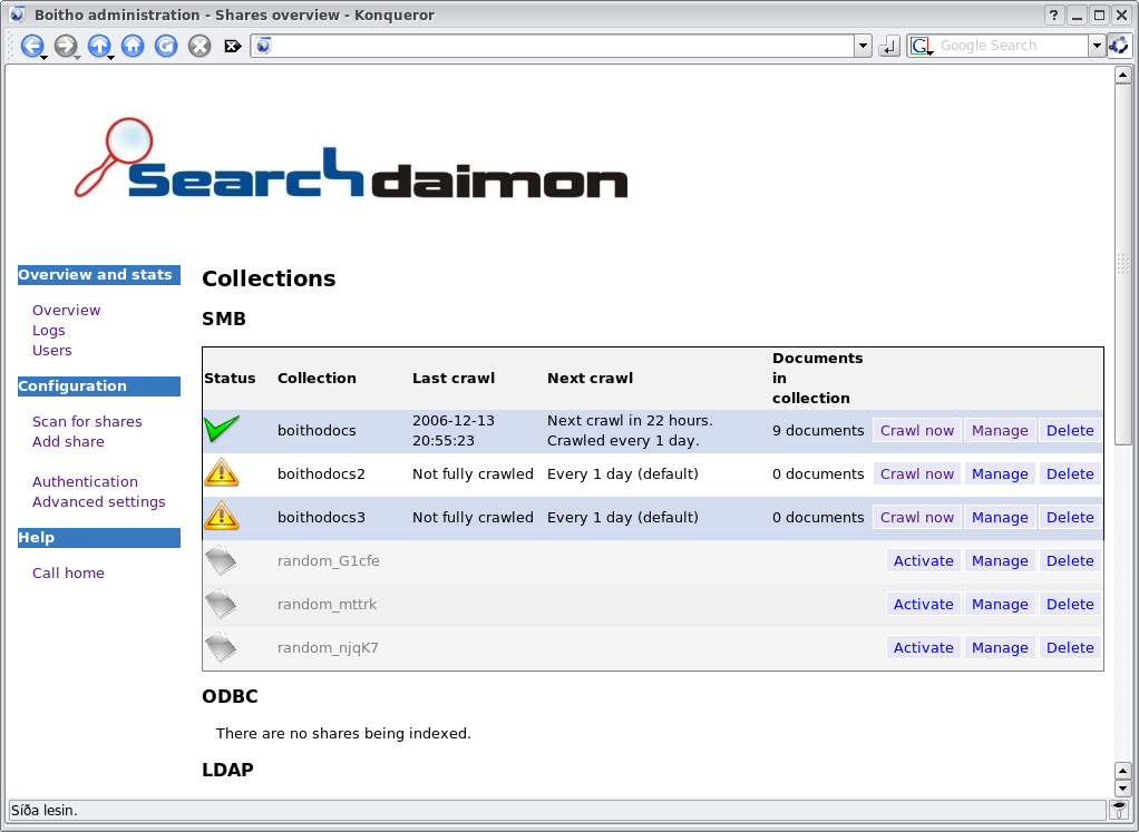 Administration interface - Searchdaimon Open Source